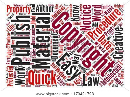 Copyright Procedures Quick and Easy Word Cloud Concept Text Background