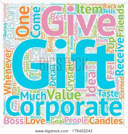 Corporate Gift Ideas text background wordcloud concept