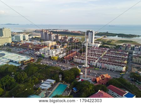 Malacca, Malaysia - Feb 2, 2017: Arial View Of Menara Taming Sari Tower. Malacca City Is The Capital
