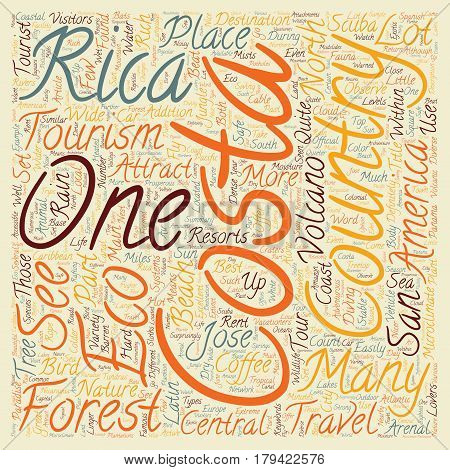 Costa Rica a Paradise for Eco Tourism text background wordcloud concept