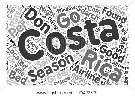 Costa Rica on a Dime text background word cloud concept
