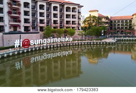 Melaka, Malaysia - May 24Th 2016 - A Perspective View Of Sign With Hashtag I At Sungai Melaka From A