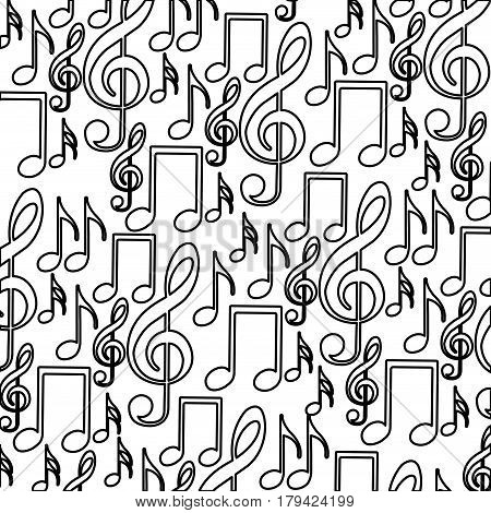 monochrome background with pattern of musical notes icons vector illustration