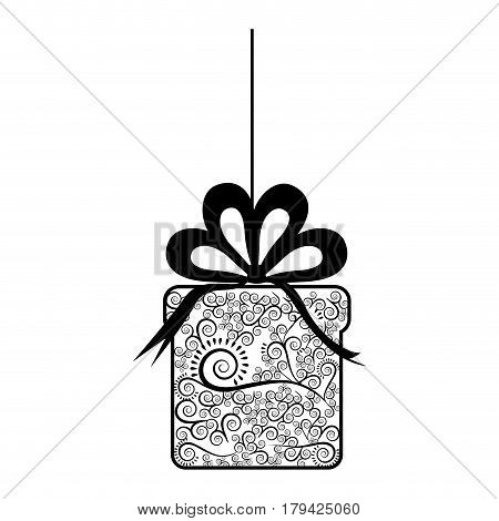 monochrome silhouette of giftbox with decorative ribbon pendant of thread vector illustration