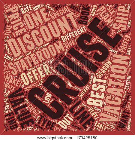 Cruise Discounts Six Ways to Value text background wordcloud concept