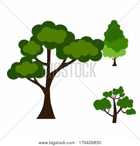 Cartoon garden green tree vector illustration. Natural plant leaf summer green trees season foliage. Nature environment green trees organic spring forest garden abstract wood park.