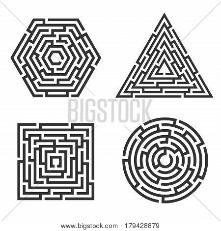 Set of 4 maze - square circle triangle hexagon icon. Business concept. Labyrinth vector illustration.