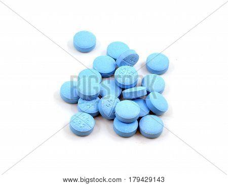 Pile Of Light Blue Pills