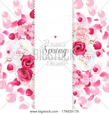 White peony, pink hydrangea, rose flowers and flying petals vertical vector design card. Wedding celebration frame. Saint Valentines template. All elements are isolated and editable