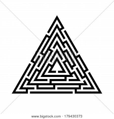 Triangle maze labyrinth icon. Business concept. Vector illustration.