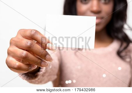 Attractive African Woman With Her Business Card