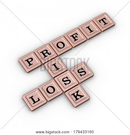 Business Risk, Profit and Loss Crossword Puzzle in Rose Gold color. Risk Manegement concept. 3D illustration on white background.