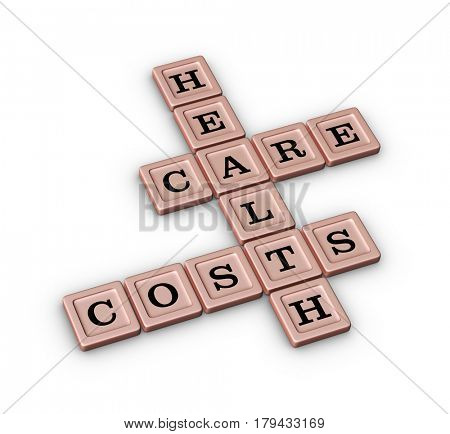 Health care costs crossword puzzle in rose gold color. 3D illustration on white background.