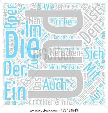 Die besten Hausmittel gegen Kopfschmerzen text background word cloud concept