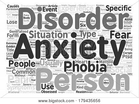 Different Types of Anxiety Disorders text background word cloud concept