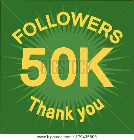 50K Followers Illustration With Thank You
