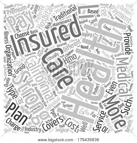Different Types of Health Insurance in California text background wordcloud concept