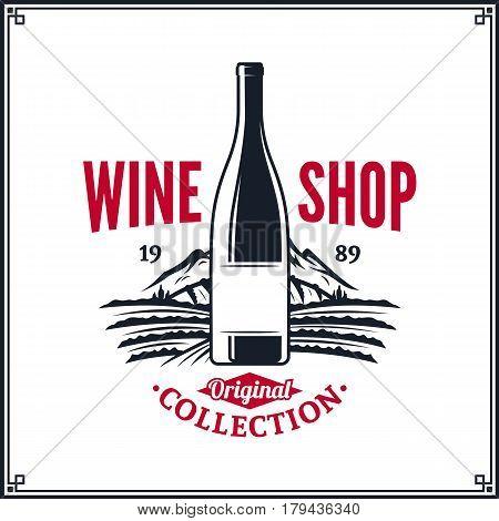 Vector Red And Black Vintage Wine Shop Logo