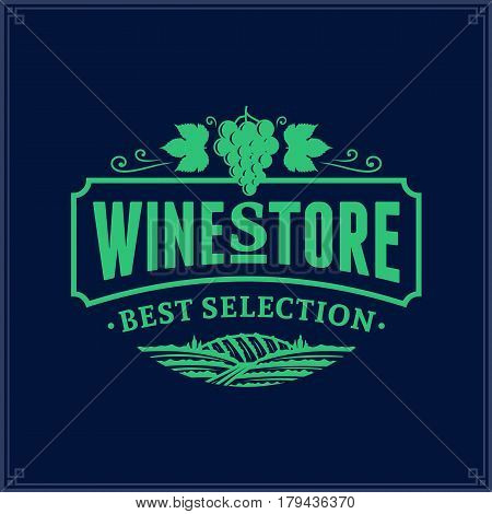 Vector Sea Green Vintage Wine Store Logo On Dark Blue Background
