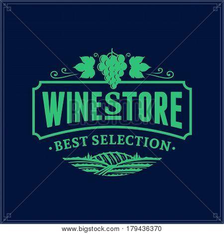 Vector Sea Green Vintage Wine Store Logo On Dark Blue Background