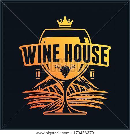 Vector Yellow-orange Vintage Wine Logo On Black Background