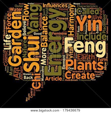 Feng Shui in the Garden text background wordcloud concept