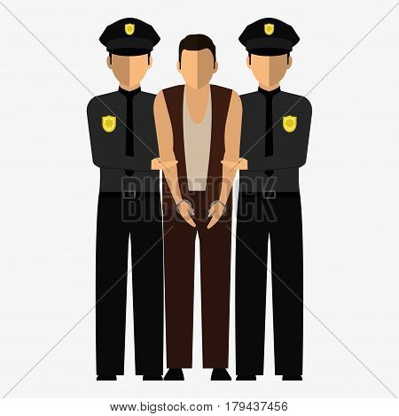 Criminal, Offender And Police Officer. Illustration, Elements For Design.
