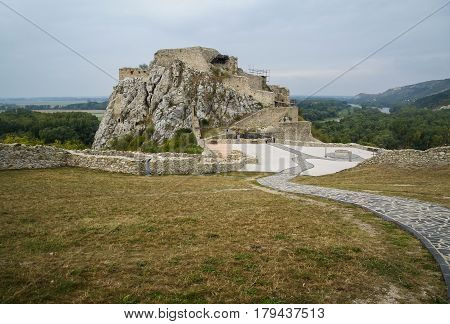 Landscape with medieval Devin castle, Slovakia, Europe