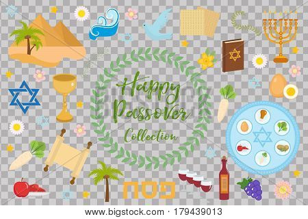 Passover icons set. flat, cartoon style. Jewish holiday of exodus Egypt. Collection with Seder plate, meal, matzah, wine, torus, pyramid. Isolated on white background Vector illustration