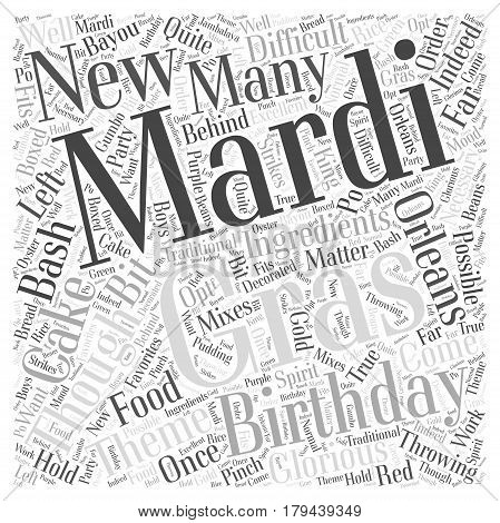 Throwing a Mardi Gras Birthday Bash Word Cloud Concept