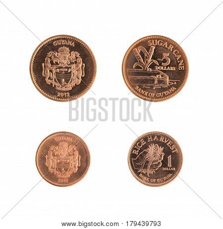 One And Five Dollar Guyana Coins