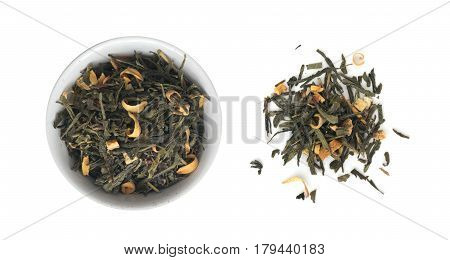 Heap Of Dry Green Tea With Additives