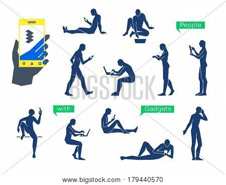 People Using Gadgets. Simple Straight Line Human Manikin Silhouettes. People Online Social Networkin