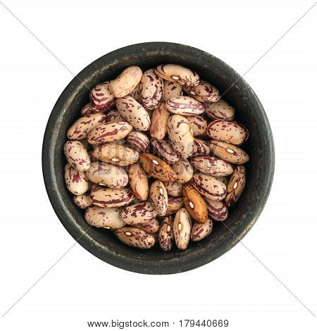 Dry Pinto Beans In Round Bowls Isolated