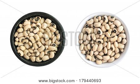 Dry White Beans In Round Bowls Isolated