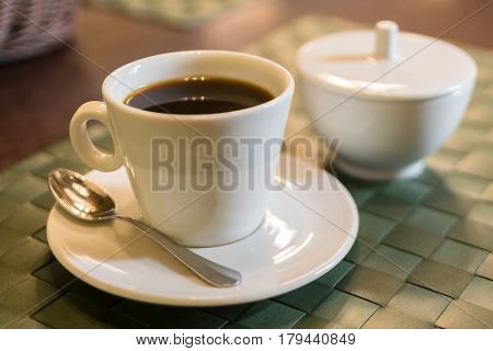 Coffee Americano In A White Cup