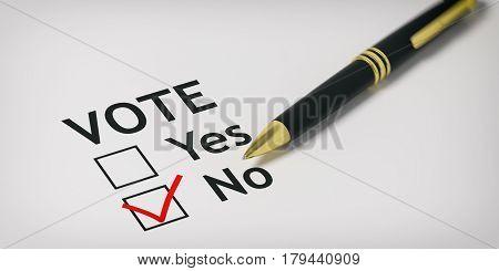 Vote No - Check Box. 3D Illustration