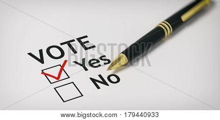 Vote Yes - Check Box. 3D Illustration