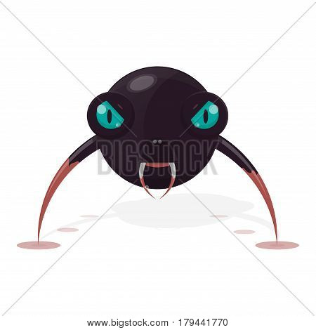 Illustration of an ugly virus. The character is an evil monster. Vector object web or print.