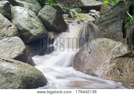 waterfall in Chonburi Thailand. waterfall after rain. waterfall in the forest.