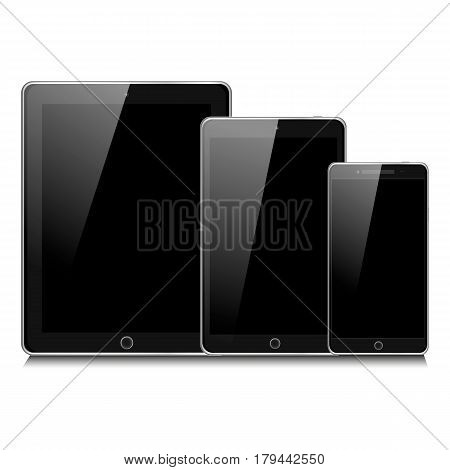 Set Of Realistic Portable Devices. Black Tablet Mini Pad, And Mobile Phone. Vector Illustration Eps