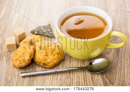 Tea, Shortbreads With Carrot And Raisin, Lumpy Sugar, Tea Bag
