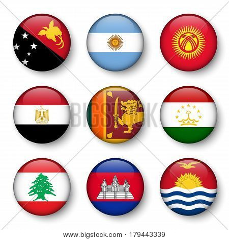 Set of world flags round badges ( Papua New Guinea . Argentina . Kyrgyzstan . Egypt . Sri Lanka . Tajikistan . Lebanon . Cambodia . Kiribati )