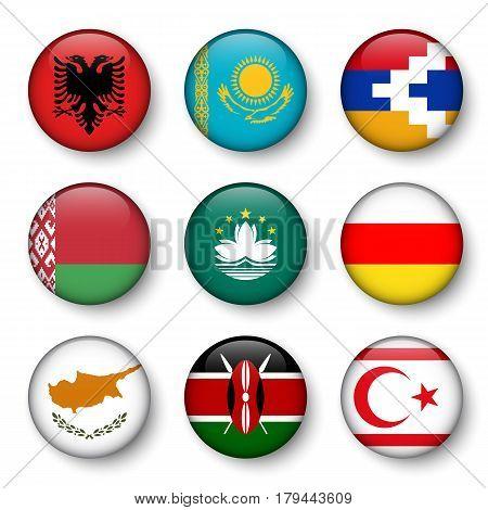 Set of world flags round badges ( Albania . Kazakhstan . Nagorno-Karabakh . Belarus . Macao . South Ossetia . Cyprus . Kenya . Northern Cyprus )
