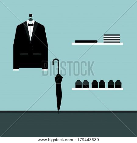 Tuxedo Vector illustration Classic black tuxedo is hanging in the wardrobe on the wall with black umbrella-cane, shelves with clothes and shoes Flat design
