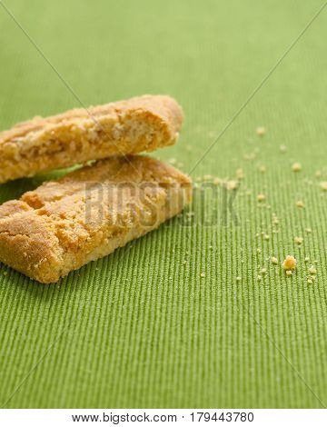 Apple Strudel Crispy Pies On Green Tablecloth Background.