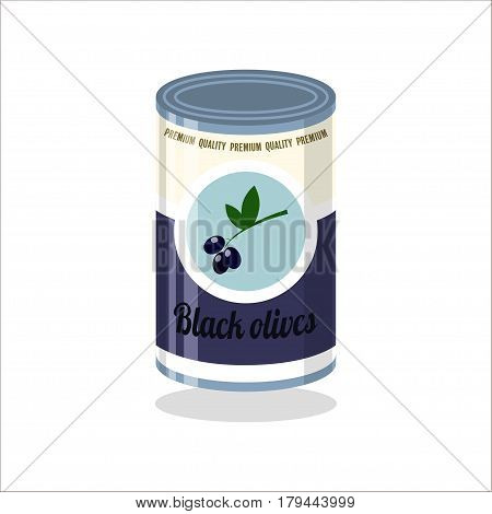 Tin Vector illustration Retro tin can with black olives on white background