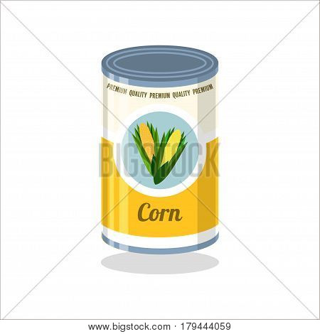Tin Vector illustration Retro tin can with corn on white background