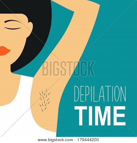 Depilation Vector illustration Girl in a white shirt is holding her hand behind her head Depilation of the armpits Poster template in flat design