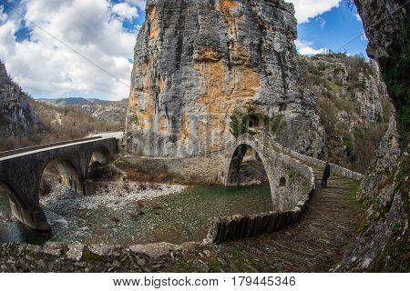 Landscape with the Kokoris medieval stone bridge in Zagorohoria area, Greece